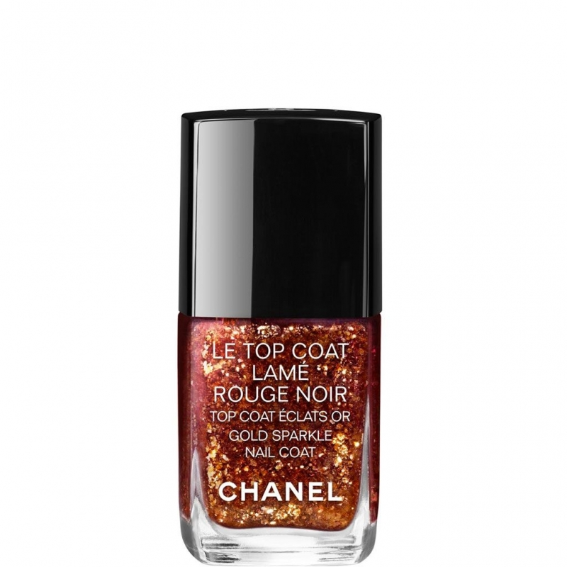 Chanel Le Top Coat Lame Rouge Noir Gold Sparkle Nail Coat